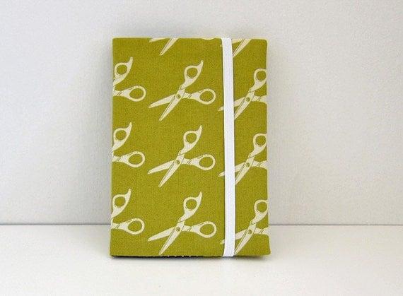 Sleek passport cover -- mod scissors Teal --Custom order