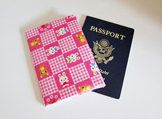 Sleek passport cover --  kawaii bunny Japanese cotton