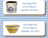 Personalized Primitive Cobalt Blue Slip Crock Yelloware Bowl Return Address Labels