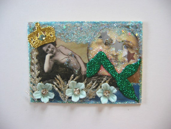 Mermaid Vintage Queen under the Full Moon sparkling original altered aceo collage art card