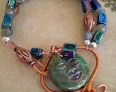 Raku, copper and labradorite Bracelet