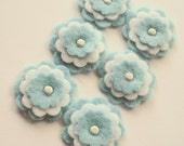 Baby Blue and White 3 layer Felt Flower embellishments with a brad