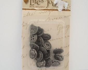 Scrapbooking Embellishments, Nickel Tacks, Metal Embellishments, Heart Tacks, Flower Tacks, K&Co Life's Journey Heritage Nickel Tacks
