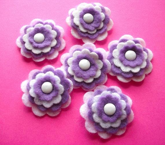 Felt Flower Embellishments in Lavender and White, pack of 6