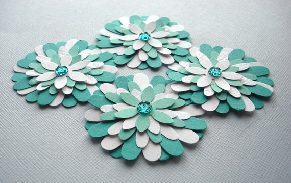 Teal Blue and White Flowers, Paper Flower Embellishments Set of Four (4)