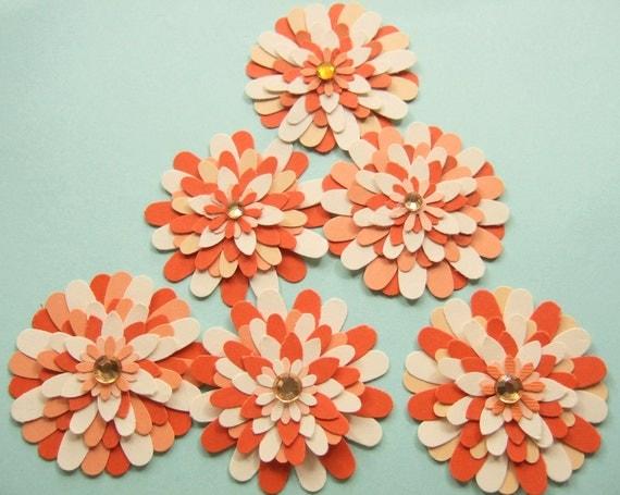 Paper Flower Embellishments Six Cream Orange