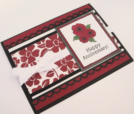 Red and White Happy Anniversary Card, with Red Flowers