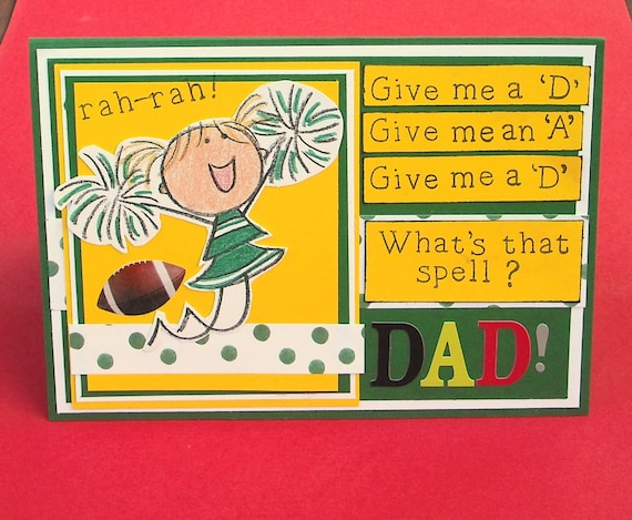 Father's Day Card or Birthday Card, Young Girl Cheering for Dad