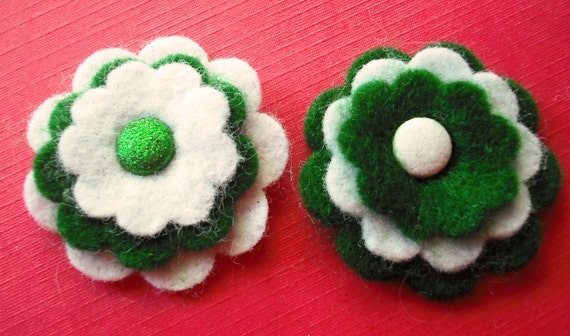 Felt Flower Embellishments, Six Kelly Green and White