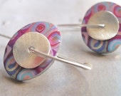Custom order for Stacats96 --- colorful image and sterling silver oval color squares earrings