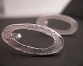 post earrings - silver earrings - oval stud earrings - everyday jewelry