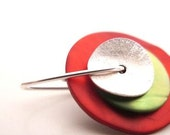 mother of pearl and sterling silver DOUBLE EARRING red-green