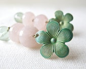 Look Vintage Pink Quartz and Fluorite Verdigris Flower long post  earrings Jewelry Sale Black Friday Etsy Cyber Monday Etsy