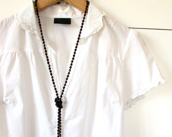 Extra long black beaded necklace - 190 czech black fire polish glasses Jewelry Sale Black Friday Etsy Cyber Monday Etsy