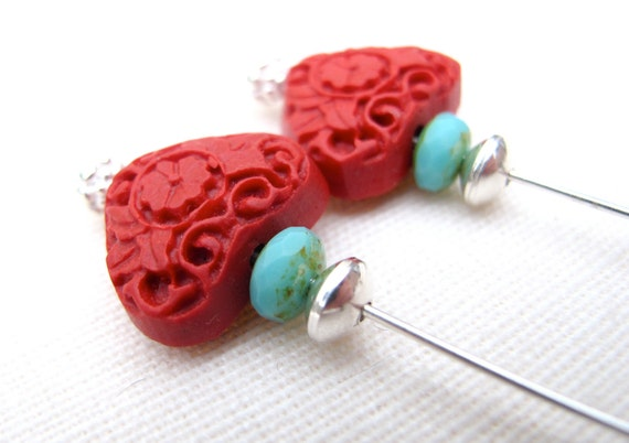 Red Heart turquoise czech glass and sterling silver Dangle earrings Jewelry on Sale -Black Friday Etsy Cyber Monday Etsy