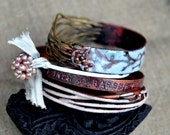 Bangle Set - Chantilly Forest - Rustic Enamel Bracelets for Fall and Winter 2011