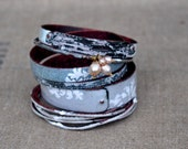 READY TO SHIP - Bangle Set - Appalachian Snow Queen - Rustic Enamel Bracelets for Fall and Winter