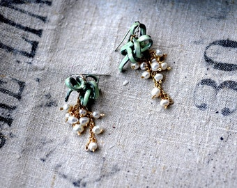 Gifted - Enamel and Pearl Statement Earrings in Lichen Green