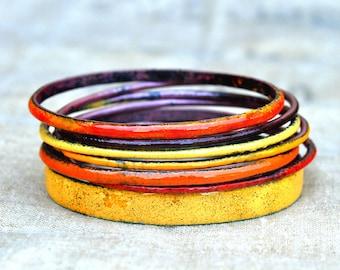 Handcrafted Bangle Set - 'Jaffa' - Orange & Tangerine Toned Enamel Bracelets