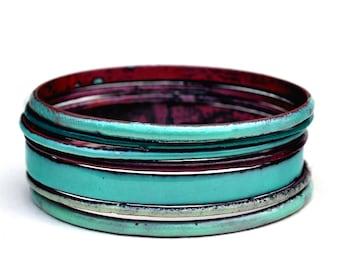 Handcrafted Bangle Set - 'Scallywag' - Seafoam Toned Enamel Bracelets