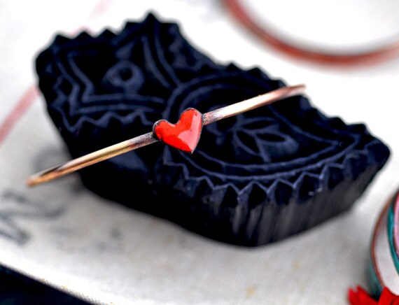 Valentine's Day Little Red Heart - Enamel Charm Bangle - FREE with Purchases Over 85 Dollars