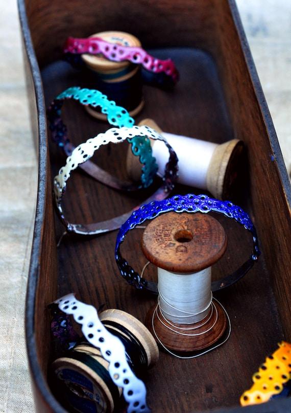 READY TO SHIP - Bangle Bracelet - Mill End Enamel Bangle - Pick Your Own - ooak Lace Bangle