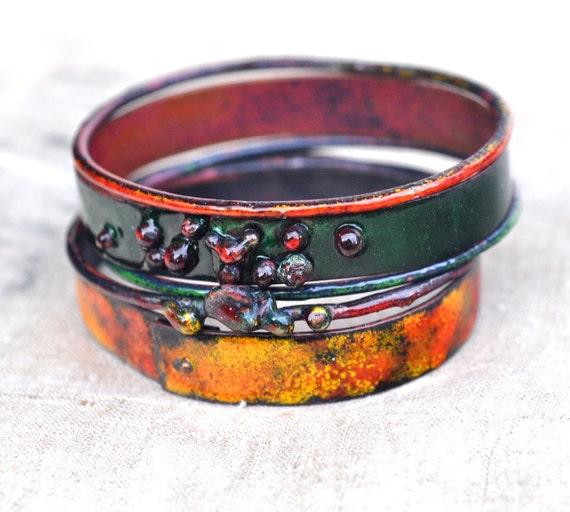 One Of A Kind - East Indies Bangle Set - Enameled Bracelets