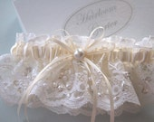Your Choice of White or Ivory Chantilly Beaded Lace Wedding Garter for Bride, Wedding Garter, Weddings, Garters, Bridal Garters,