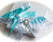 Bridal Garter Set in Splendor Blue Satin and White Embroidered Lace with Rhinestone and Teardrop Pearl