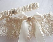 Heirloom Bride Garter Set in Bridal Venice, Lingerie, Garter Lace with Rhinestones Centerings and Something Blue and  Bow