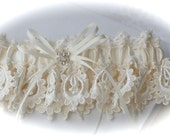Wedding Garter in My Most Beautiful Venice Bride Garter Lace with Rhinestone Flower and Satin Bows Centering Trims