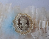 Victorian Style Garter with Manhattan Shop Cameo Trim and  Something Blue Feathering