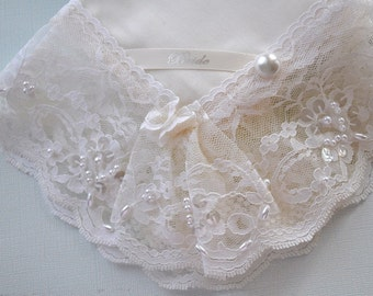 Batiste Bridal Hanky with Beaded Chantilly Lace Edge