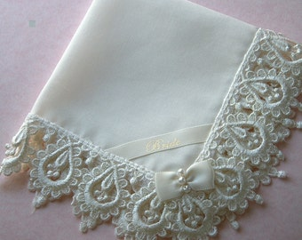 Bride's Hanky in Heirloom Venice Edge and Heirloom Batiste