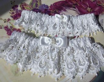 Weddings, Wedding Garter Set, Exquisite Bride's Garter Set in Heirloom Venice with Pearled Bowties