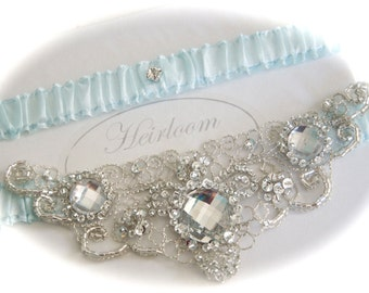 Weddings Garter Set with Jeweled Centering Trim of Embroidery with Crystals and Beads