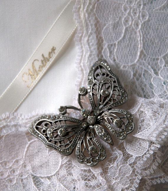 Heirloom Hanky for Mother with Butterfly Brooch, Wedding Hankies, Weddings, Hanky, Bridal Gift Hanky