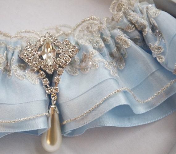 Blue Satin Bridal Garter With Beaded Lace By