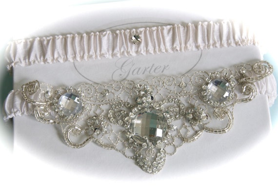 Ivory Bridal Garter Set  with Crystal Beaded and Platinum Embroidered Centering  Trim