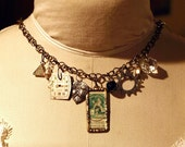 RESERVED - Lovers Memories Vintage Collage Charm Necklace