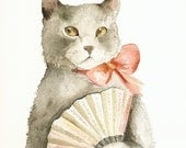 Cat Art - Lady with a Fan
