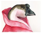 The Royal Taffeta- Goose art, pink, girls room, children