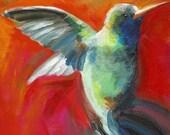 Bird Art - Hummingbird art, red - Nectar