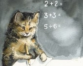 MATH - Cat art, Cat Watercolor, teacher, student, school - amberalexander