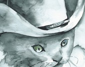 Desperado- Cat Art, cowboy, western, children, boys room