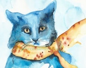 Bluebell- Blue Cat Art, children,decor, room