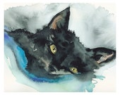 "Black Cat Watercolor - ""Nutcase Tucked In"" Archival Print"