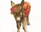 Mule Archival Print, southwestern art , donkey