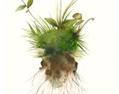 watercolor- Earth- Large moss, spring, green, Botanical Archival Art print of watercolor