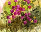 Red Clover print of Original Painting